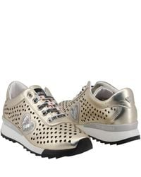 Moschino Multicolor Love Metallic Beige Faux Heart Perforated Faux Leather Platform Lace Up Sneakers Size 38