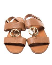 Louis Vuitton Brown Leather Vedette Slingback Flat Sandals Size 40