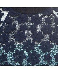 Self-Portrait Blue Floral Applique Lace 60's Overlay Maxi Dress S