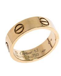 Cartier Metallic Love 18k Yellow Gold Band Ring Size 52