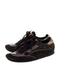 Louis Vuitton - Brown Monogram Canvas And Suede Low Top Sneakers for Men - Lyst