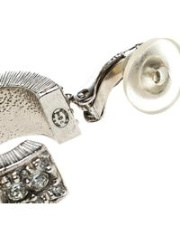 Chanel Metallic Cc Crystal Embellished Small Hoop Clip On Earrings