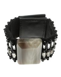 Marni Black Beads Resin Square Wide Cuff Bracelet