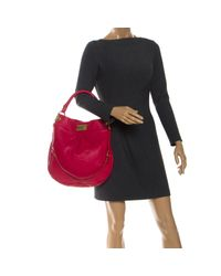 Marc By Marc Jacobs Hot Pink Leather Classic Q Hillier Hobo