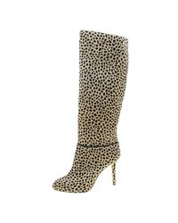 Charlotte Olympia - Natural Leopard Print Pony Hair Corine Knee High Boots - Lyst