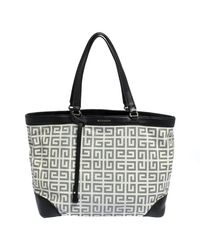 Givenchy White/black Monogram Coated Canvas And Leather Shopper Tote