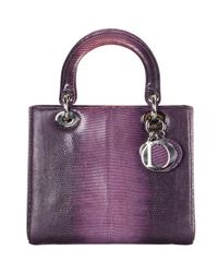 Dior Purple Lizard Skin Limited Exotic Lady Medium Everyday Bag