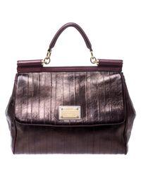 Dolce & Gabbana Brown Metallic Bronze Leather