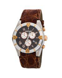 Roberto Cavalli Brown Two-tone Stainless Steel Crocodile Leather Diamond Time R7251616055 Men