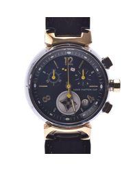 Louis Vuitton Black Stainless Steel Tambour Chrono Lv Cup Q1325 Quartz Wristwatch for men