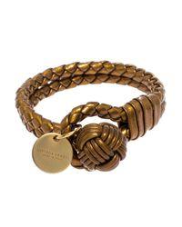 Bottega Veneta Metallic Bronze Gold Laminated Effect Leather Double Strand Intrecciato Bracelet