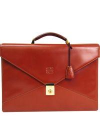 Loewe Tan Brown Calfskin Leather Briefcase
