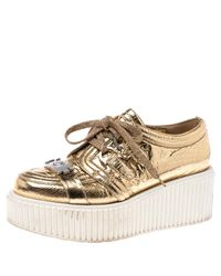 Chanel Metallic Gold Foil Leather Creepers Platform Sneakers Size 38