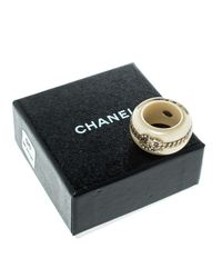 Chanel Metallic Cc Crystal Chain Embellished Resin Wide Band Ring