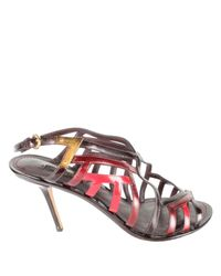 Louis Vuitton Multicolor Red/brown Leather Strappy Sandals Size 41