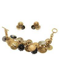 CH by Carolina Herrera - Metallic Enamel Tone Button Detail Charm Toggle Bracelet & Stud Earring Set - Lyst