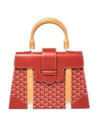 Goyard Red Ine Coated Canvas And Leather Saigon Top Handle Bag
