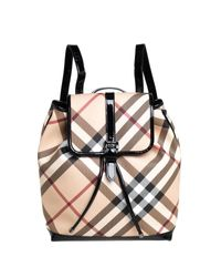 Burberry Black/beige Nova Check Pvc And Patent Leather Backpack