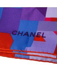 Chanel Blue Multicolor Data Center Printed Silk Square Scarf