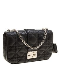 Dior - Black Cannage Leather Small Miss Flap Bag - Lyst