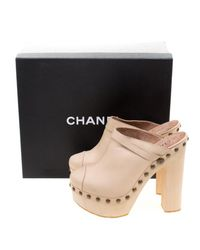 Chanel - Natural Leather Studded Wood Platform Mules - Lyst