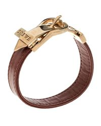Loewe - Red Nude Leather Rose Gold Tone Buckle Bracelet - Lyst