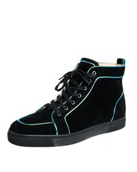 Christian Louboutin Black Suede And Iridescent Leather Trim Rantus Orlato High Top Sneakers for men