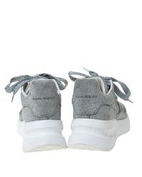 Alexander McQueen Metallic Silver Glitter Platform Lace Up Sneakers