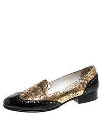 Chanel Golden Black Patent And Textured Leather Slip On Loafers Size 37