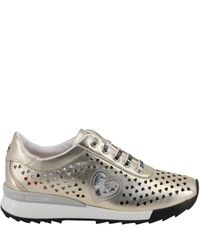 Moschino Natural Love Metallic Beige Faux Heart Perforated Leather Platform Lace Up Sneakers Size 40