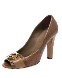 Gucci Brown Ssima Leather GG Logo Peep Toe Pumps