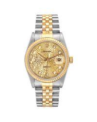 Rolex Metallic Champagne 18k Yellow Gold Diamond Stainless Steel Datejust 16233 Men