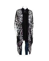 Roberto Cavalli Black Multicolor Animal Printed Silk Short Kaftan Dress M