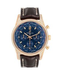 Breitling Blue Diamonds 18k Rose Gold Transocean Rb0510 Wristwatch 46 Mm for men