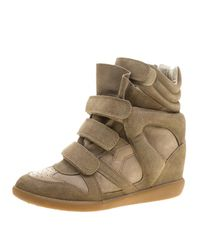 adfe577ada Isabel Marant Khaki Suede Bekett Wedge Sneakers in Green - Lyst