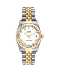 Rolex White 18k Yellow Gold And Stainless Steel Datejust 68273 Wristwatch 31 Mm
