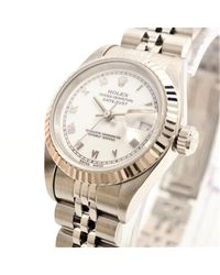 Rolex White 18k White Gold And Stainless Steel Datejust Women's Wristwatch 26mm