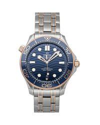 Omega Blue 18k Rose Gold And Stainless Steel Seamaster Diver 300m 210.20.42.20.03.002 Men