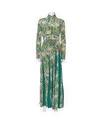 Gucci Green Floral Printed Silk Pleated Maxi Dress
