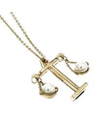 Dior - Metallic Tell Me Libra Faux Pear Gold Tone Pendant Necklace - Lyst