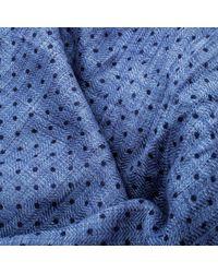 Loro Piana - Blue Cashmere Silk Herringbone Pattern Dotted Scarf for Men - Lyst