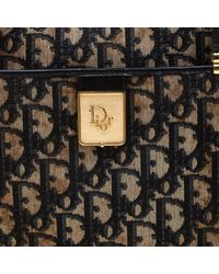 Dior Black/blue Oblique Canvas Satchel