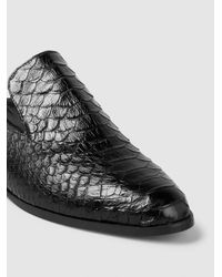 Robert Clergerie Black Alice Python-effect Leather Slippers