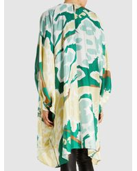 DHELA - Green Printed Silk Mini Dress - Lyst