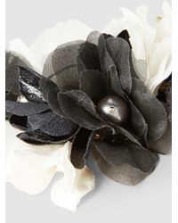 Lanvin - Metallic Gold-tone Silk Floral Appliqué Choker - Lyst