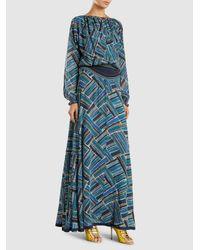 Talitha - Blue Rosa Printed Silk-georgette Maxi Dress - Lyst