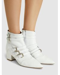 Tabitha Simmons - White Christy Leather Buckled Boots - Lyst