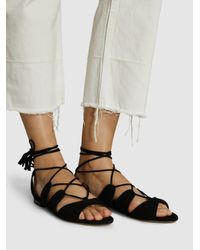 Tabitha Simmons Black Tasselled Lace-up Suede Sandals