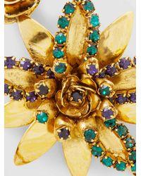 Erickson Beamon | Metallic Emerald + Crystal Flower Earrings | Lyst