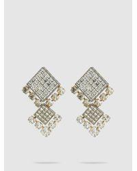 Lanvin - Metallic Square Crystal Bling Earrings - Lyst